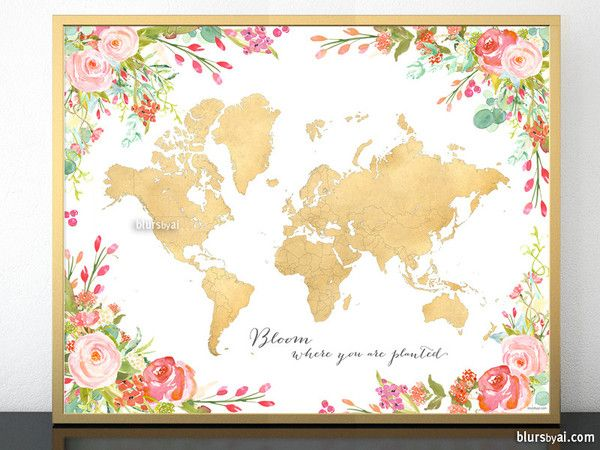 Bloom where you are planted, spring decor, gift for spring, girly gift, gift for her, inspirational gift, travel lover gift  Colorful art print, featuring the world map, with countries and states outlined, in faux gold foil and sourrounded by watercolor floral bouquets.