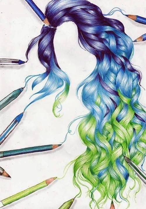 Drawing of purple blue and green curly hair