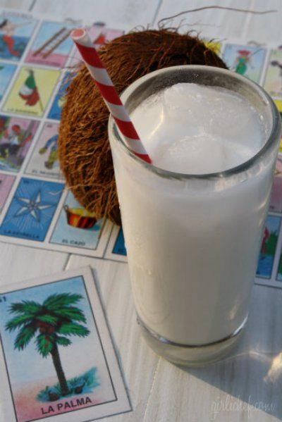 Coconut Horchata. I would try with brown rice and stevia.