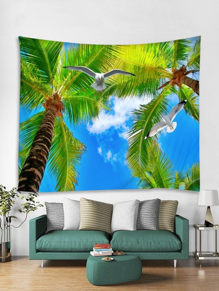 Palm Tree Pigeon Print Tapestry Wall Hanging Art Decoration