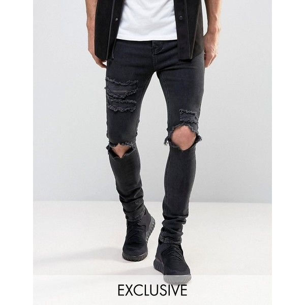 Mennace Skinny Jeans With Distressing In Black Wash (€71) ❤ liked on Polyvore featuring men's fashion, men's clothing, men's jeans, black, mens skinny jeans, mens patched jeans, mens ripped jeans, mens skinny fit jeans and mens distressed skinny jeans