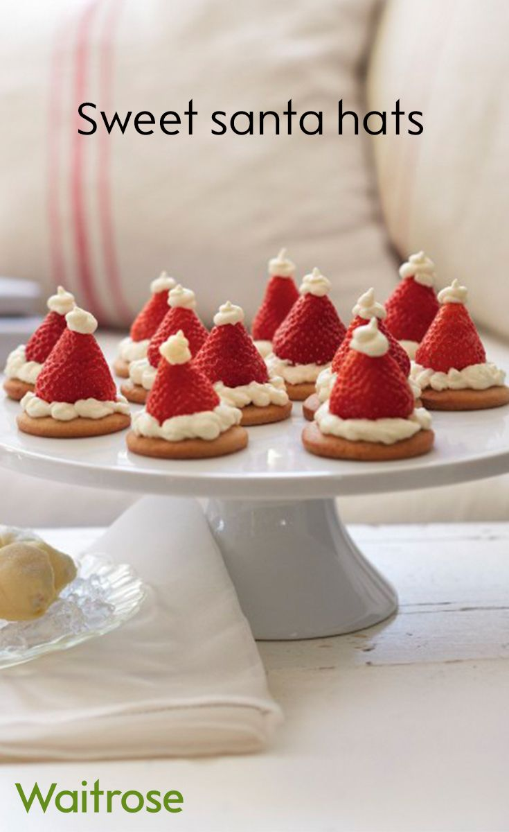 Children will love making these sweet santa hats - they're simple to make and look adorable. Save time by using pre-bought biscuits or shortbread. See this recipe and many more on the Waitrose website.