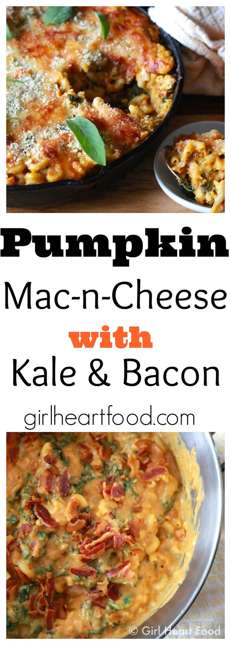 Pumpkin Mac-n-Cheese with Kale & Bacon - girlheartfood.com