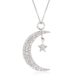 """Ross-Simons - Roberto Coin .29 ct. t.w. Diamond Moon and Star Pendant Necklace in 18kt White Gold. 16"""" - #835789"""