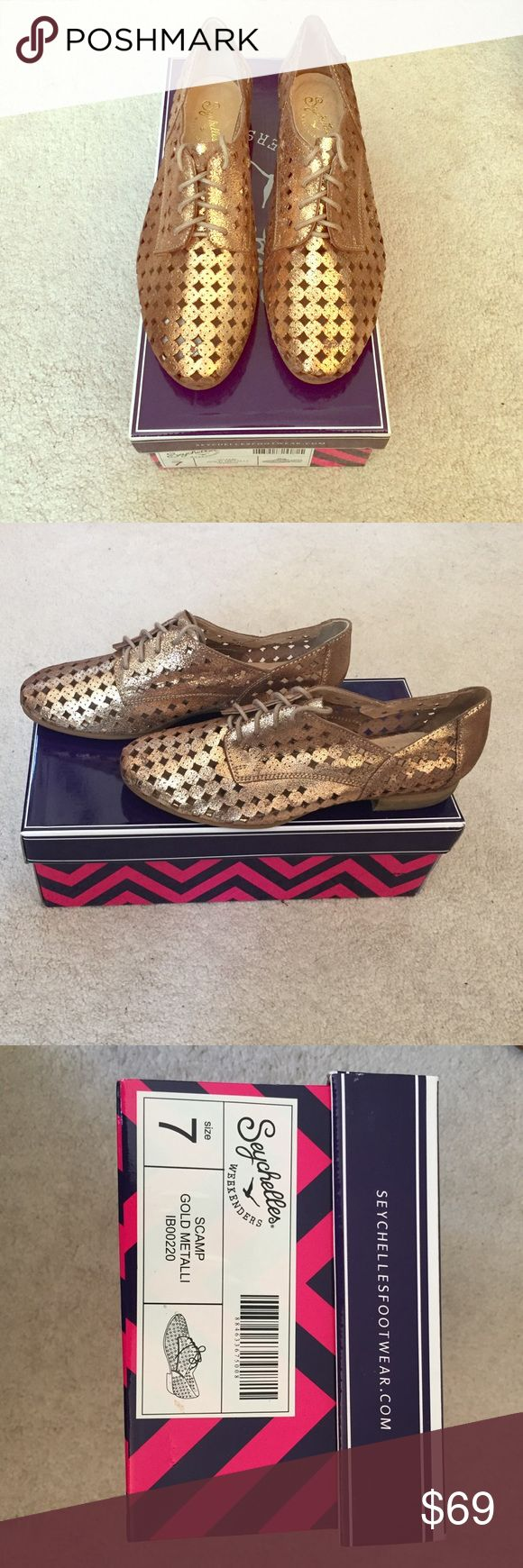 """Seychelles Scamp Metallic Oxford shoes Look no further for the perfect pair of glam oxfords! Metallic gold leather with lace-up front closure, perforated leather upper, leather lining, stacked heel 1"""" (new without tags) Seychelles Shoes Flats & Loafers"""