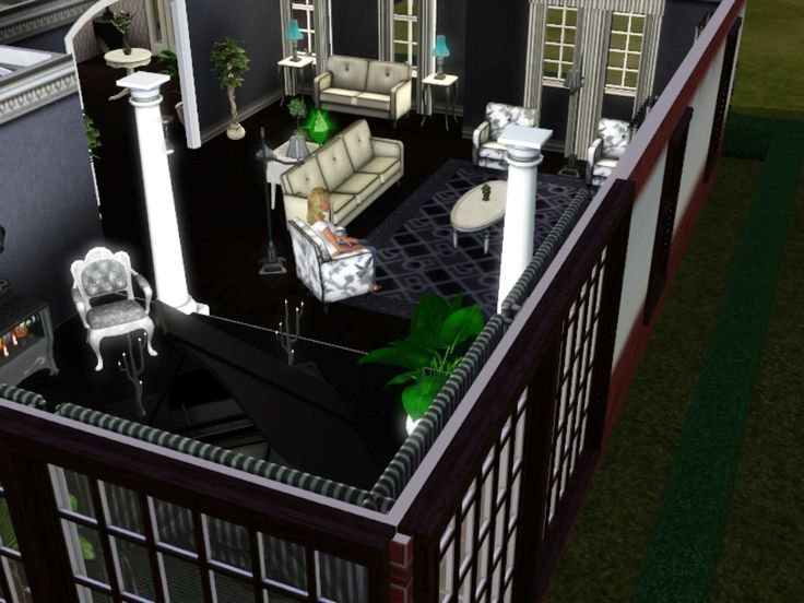 #Sims3 Redbrick house  [[living room]]