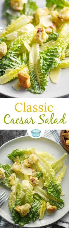 Classic Caesar Salad with romaine hearts, Caesar salad dressing, shaved Parmesan and homemade garlic croutons is the perfect start to any meal!  via @cookwithcurls #salad #caesarsalad