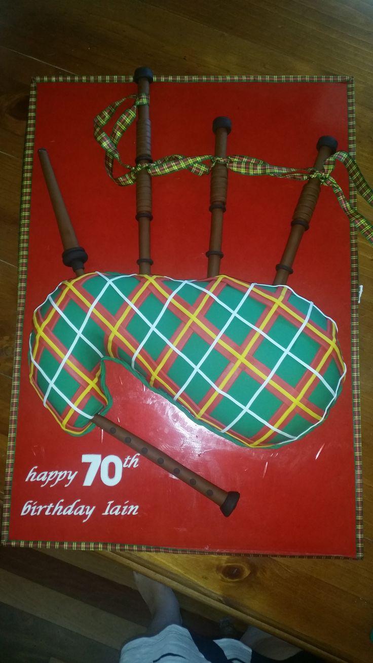 70th Birthday Bagpipe Cake. Green/Red Tartan Scottish. Almond Sponge Cake.