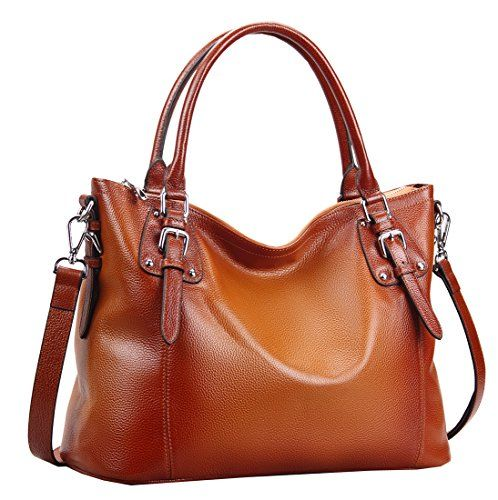 """Heshe® Luxury New Fashion Lady Soft Cowhide Leather Vintage Shoulder Bag Handbag Tote Top-handle Purse Cross Body Big Capacity Casual Simple Style Fit 14 in Laptop ((L)16.5""""x(h)11.0""""x(w)6.7"""", Sorrel) HESHE http://smile.amazon.com/dp/B00RJKIE7K/ref=cm_sw_r_pi_dp_8B9Wwb05A04JR"""