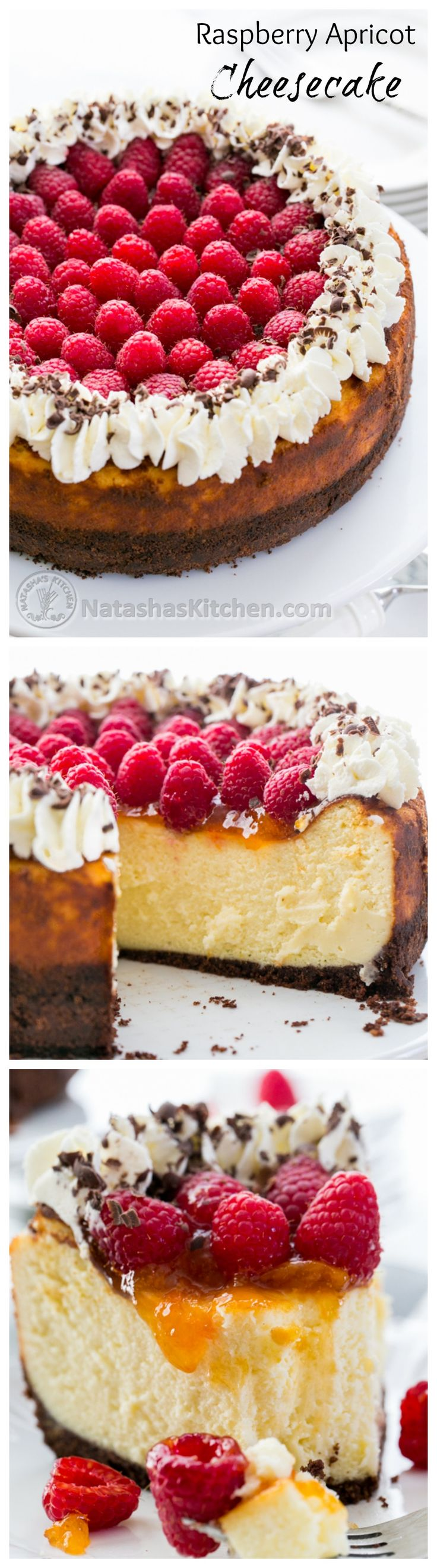 Raspberry Apricot Cheesecake with Chocolate Crust. This is the best cheesecake I've ever made or tried! So simple and absolutely delicious!! @natashaskitchen