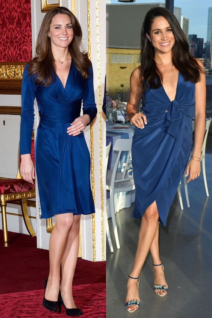 And twinning in blue dresses.