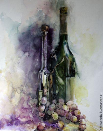 Натюрморт ручной работы. Ярмарка Мастеров - ручная работа. Купить акварель натюрморт с виноградом. Handmade. Коричневый, зеленый, виноград, розовый