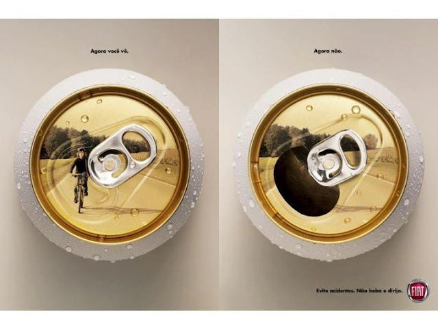 "New drunk driving campaign ad from Fiat.  Genius.  ""now you see it, now you don't"" tag."