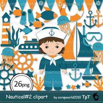 Nautical Clipart includes 26 graphic images for personal and small commercial use* png (transparent background)-fish-anchor-lighthouse-whale-jellyfish-banner-Submarine-sheep-sheep wheel-sailor boy