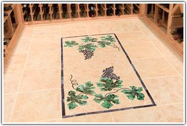 Decorative Accents For Romantic Wine Cellars (Part I) - Painted Tile Floors are not anything new since a good number of wine cellar projects actually use them.