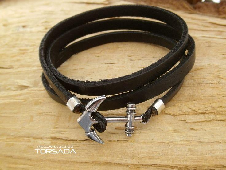 Oryginalna bransoletka męska ze skóry wykonana ręcznie z kotwicą  - TORSADA www.torsada.otwarte24.pl