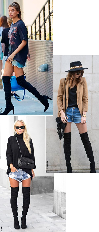 Street style look com bota over the knee.