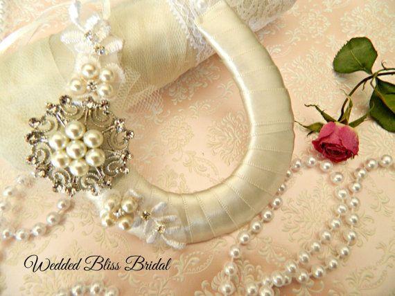 Wedding Bridal Horseshoe charm  Ivory Beaded by WeddedBlissBridal
