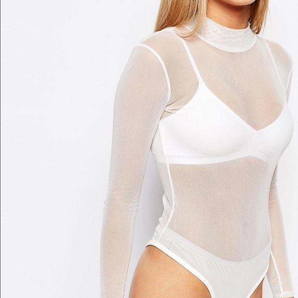 Boohoo bodysuit mesh sheer white bodysuit S Brand new with tags. UK size 8 US size 4 Boohoo Tops Tees - Long Sleeve