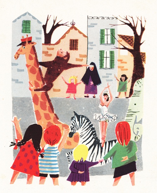 My Vintage Avenue !!! 50's and 60's illustrations !!!: Cirque - Zoo illustrated by Sonja :)