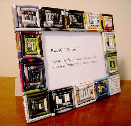 Neat recycled magazine picture frame - Craft & DIY.  Visit us at www.novaksanitary.com for information about recycling in the Sioux Falls area.