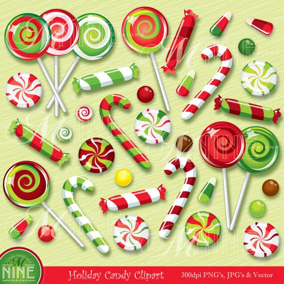 HOLIDAY Clip Art CHRISTMAS CANDY Clipart Illustrations