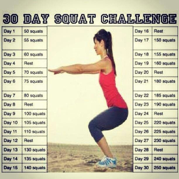 Squat challenge - I went into the challenge thinking it would be thigh slimming. 20 days in, my thighs only got a lot bigger. Then I did some research, squats build up bulky muscles! But it did do wonders for my butt, so there's that I guess. I won't be finishing the challenge, but for anyone else wanting to build up leg muscles and a nice round bottom, this is for you.