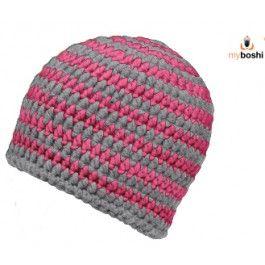 Myboshi - neon pink & silver - crochet beanie kit