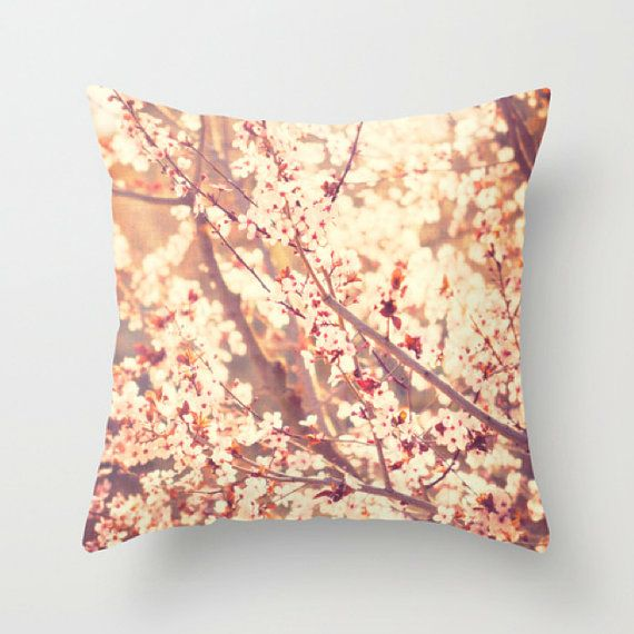 pillow cover pink cherry blossom tree pillow case by sixthandmain, $40.00