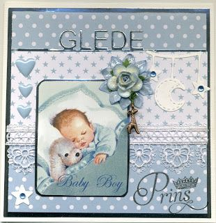 Sivic sin hobbyblogg: Et babykort i hvitt, sølv og blått
