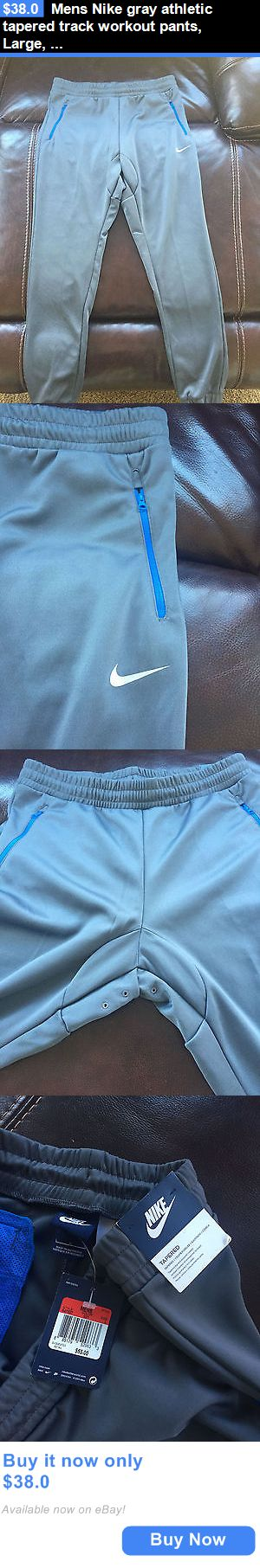 Men Athletics: Mens Nike Gray Athletic Tapered Track Workout Pants, Large, New BUY IT NOW ONLY: $38.0