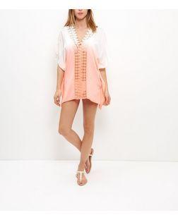 Pink Dip Dye Crochet Kaftan   New Look