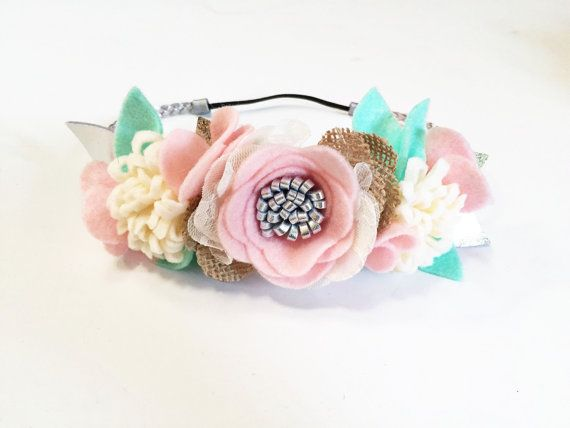 Mini Felt Flower Crown- Baby Flower Headband - Shabby Chic Wedding - Flower Girl Dress - First Birthday Crown - Pink Burlap Headband - Prop