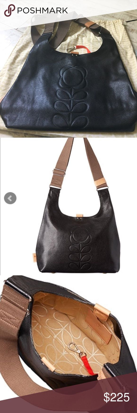 Orla Kiely mid sling stem crossbody. Black leather mid sling crossbody, worn once clean inside no wear anywhere on bag. Bought Dublin airport retails right now $300. Comes with dustbag. Orla Kiely Bags Crossbody Bags