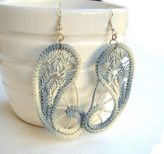 Romanian point lace gray earrings paisley  by TinyOrchidsJewelry