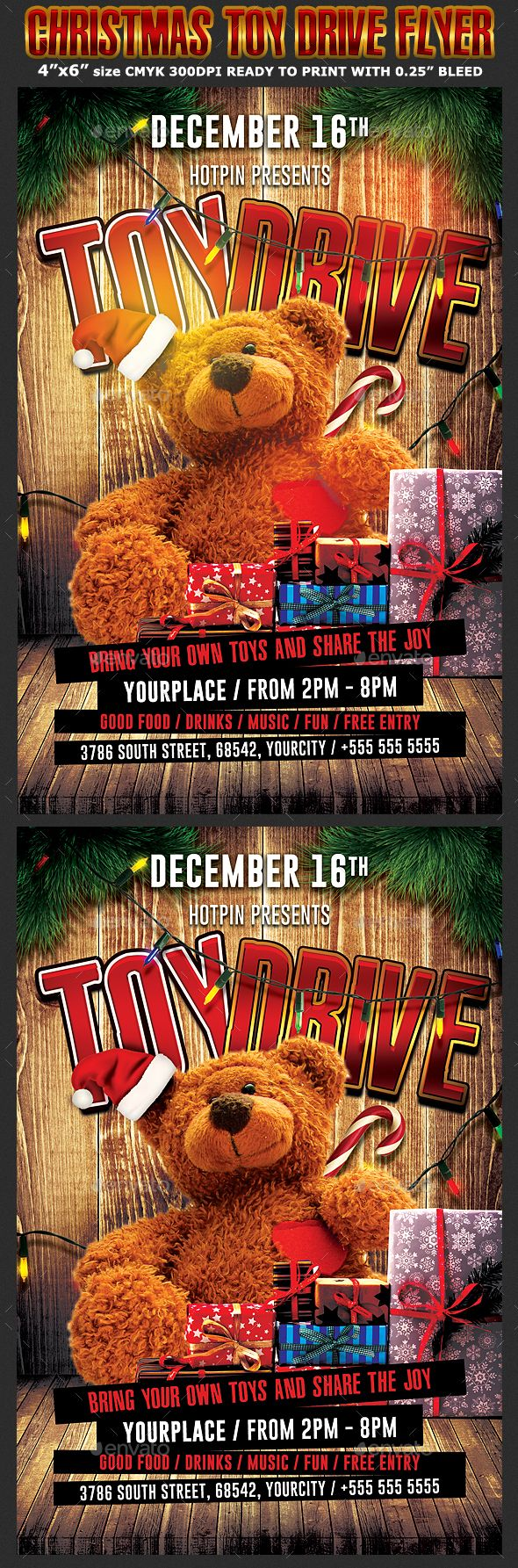 Toys For Tots Flyers Printable : Christmas toy drive flyer template