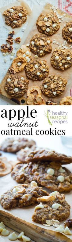Chewy apple walnut oatmeal cookies cookies, with white chocolate chips, walnuts and chunks of dried apple rings added in for a fall twist! Sweetened with unrefined maple sugar and whole-wheat! Healthy Seasonal Recipes.