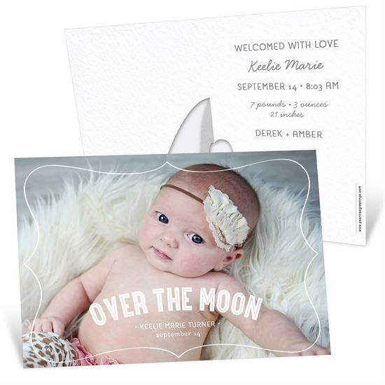 Horizontal Picture Frame Girl -- Birth Announcements