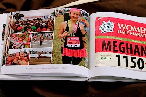 "Turn old race bibs into a ""race book"" by designing and ordering a photo book online.  Add favorite photos and information about the race on one page and leave the opposite page blank to tape race bib to when it arrives."
