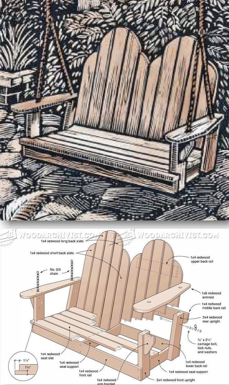 Adirondack chair back slats - Adirondack Swing Plans Outdoor Furniture Plans Projects Woodarchivist Com