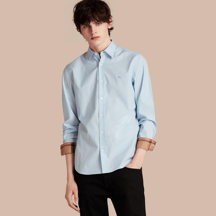 Burberry Check Detail Stretch Cotton Poplin Shirt.