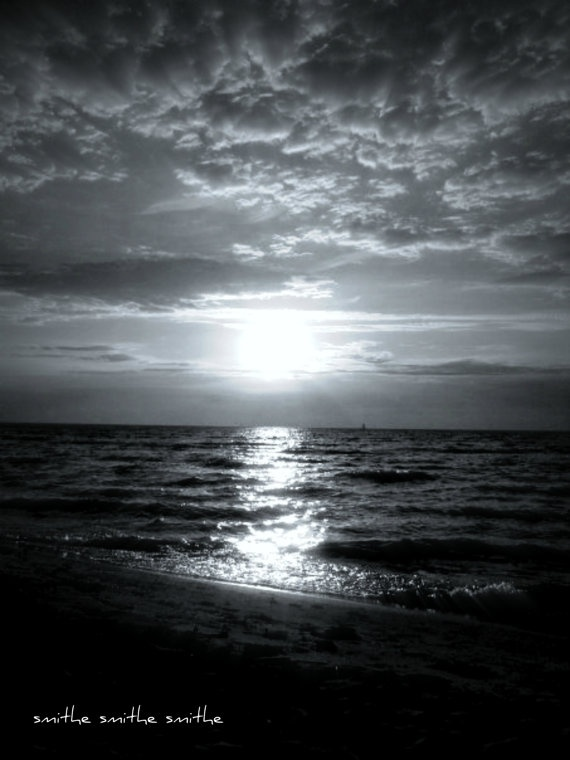 black and white lake huron michigan sunset