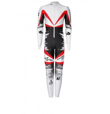Pre-Order: Race Suit Austrians adult - The right suit for your high-speed experience. Due to the aerodynamic section of the Austrian Ski Federation Race Suit Speed ​​limits are no longer a problem for you. The fit was taken from the World Cup speed range, so as to ensure you a perfect run. The official racing suit from the Austrians collection orginal  sponsors logos.