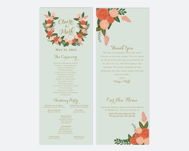 PRINTABLE Custom Wedding Program // Vintage Inspired Floral Wedding Program // Wedding Programs // Winter // Fall // Spring // DIGITAL by RememberNovemberInc on Etsy https://www.etsy.com/listing/189574127/printable-custom-wedding-program-vintage