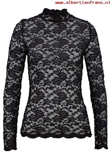 LAURA SCOTT kanten shirt Dames zwart materialenmix elegant lange mouwen nauw aansluitend achter staande kraag