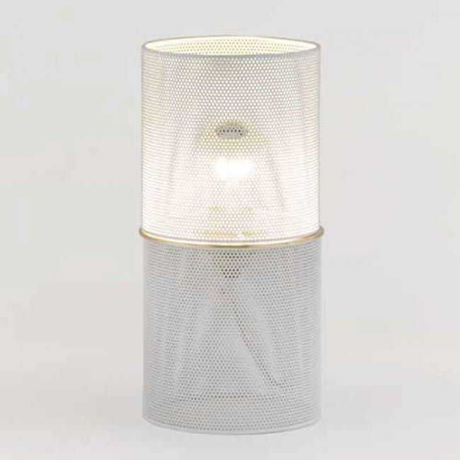 Tripod Table Lamp with Wire Mesh Aged Metal Shade Industrial