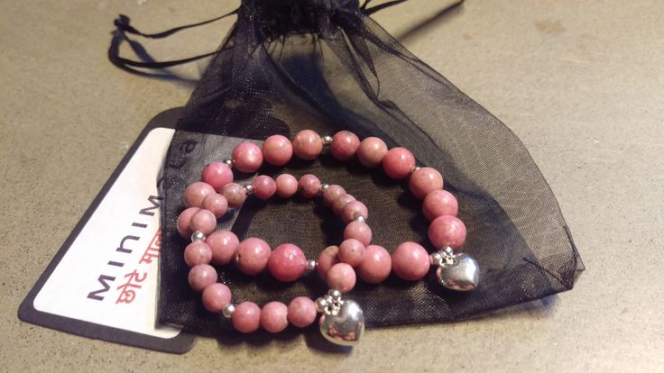 Mala bracelet in beautiful rhodonite and heart charm for babygirl, just a precious gift to baptism. In two sizes, to last a lifetime. www.minimala.se