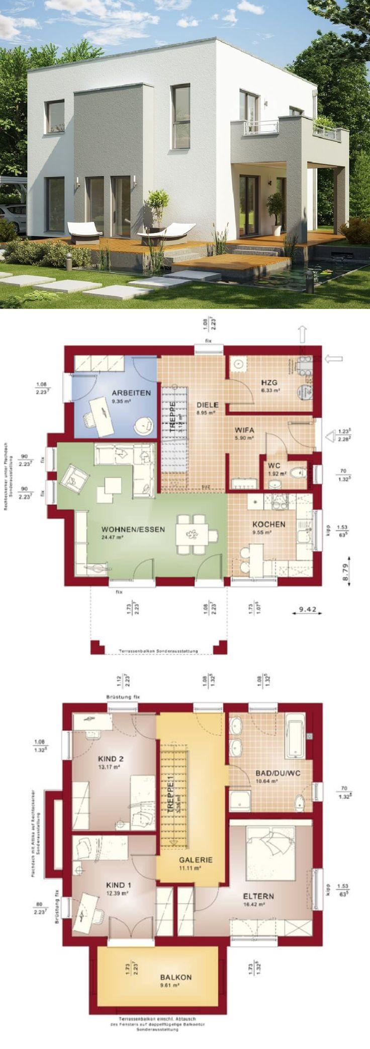 Einfamilienhaus Modern Mit Galerie U0026 Flachdach Architektur Im Bauhausstil    Haus Bauen Grundriss Fertighaus Evolution 136