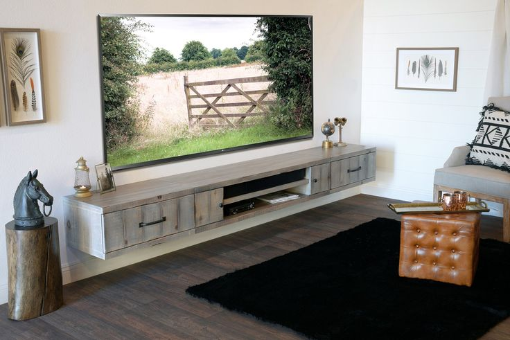 Gray Rustic Barn Wood Style Floating TV Stand Entertainment Center – Farmhouse – Lakewood