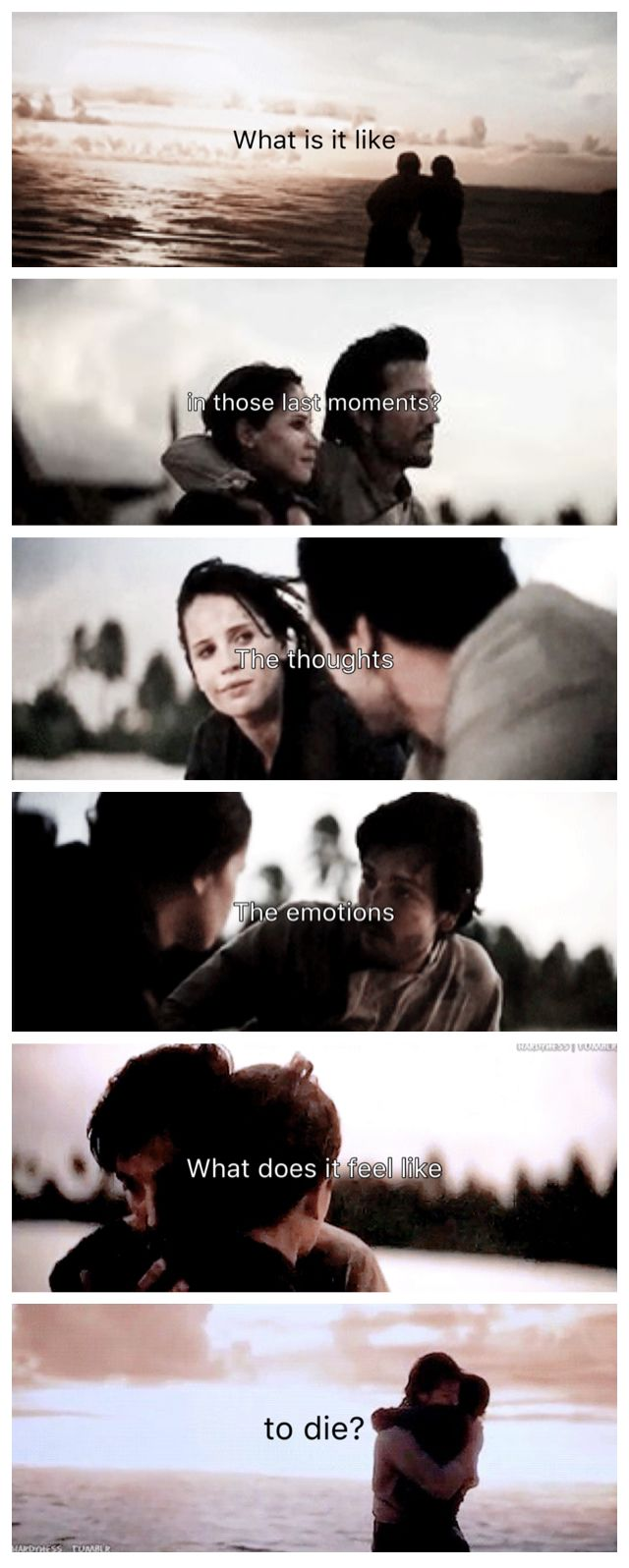 What is in like in those last moments? The thoughts. The emotions? What does it feel like to die? | Jyn and Cassian